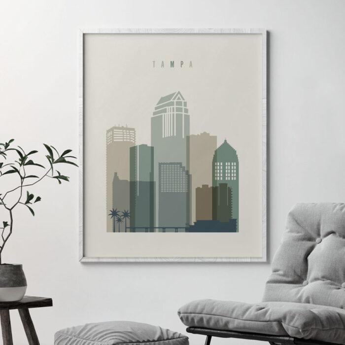 Tampa print skyline earth tones 1 second