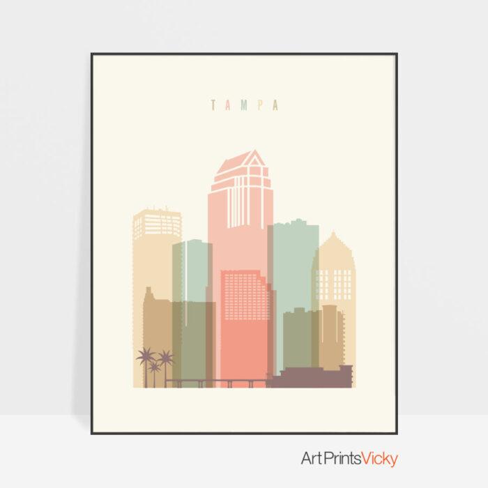Tampa poster skyline pastel cream