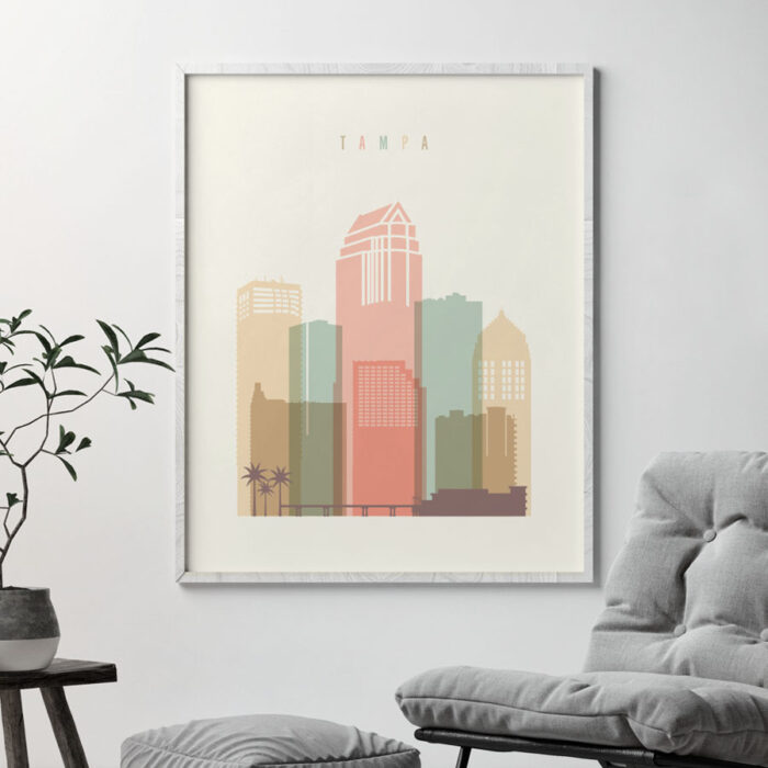 Tampa poster skyline pastel cream second