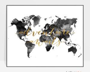 World map art adventure awaits black and white