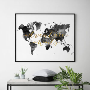 World map art adventure awaits black and white second