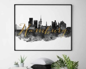 Hamburg wall art print black and white second