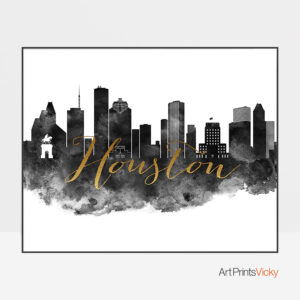 Houston Black And White Art Print