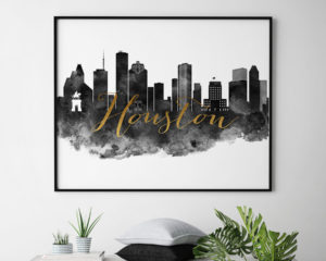 Houston wall art print black and white second