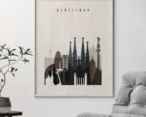 Barcelona skyline print distressed 2 second