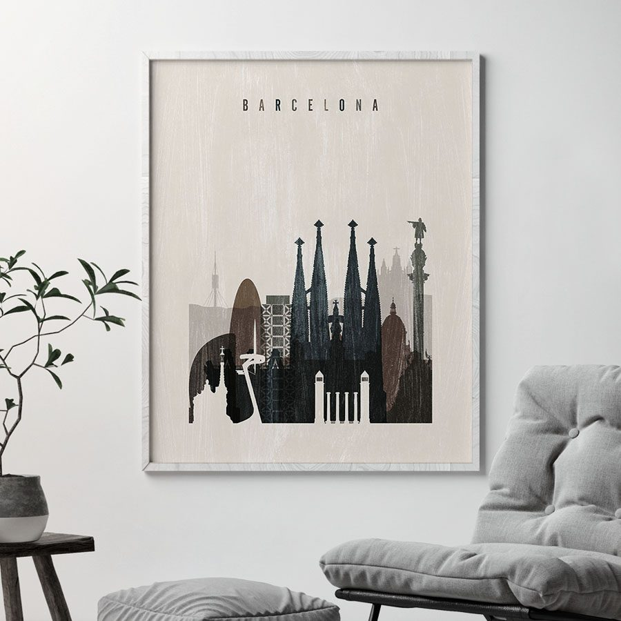 Barcelona skyline print distressed 2 second