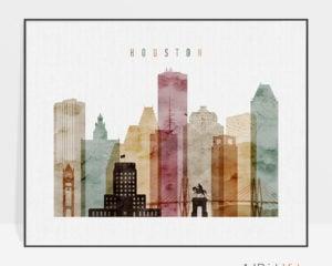 Houston skyline poster landscape watercolor 1