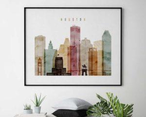 Houston skyline poster landscape watercolor 1 second