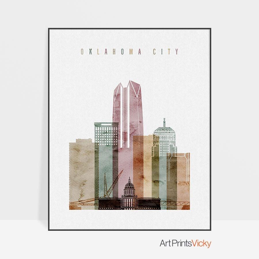 Oklahoma City skyline poster watercolor 1