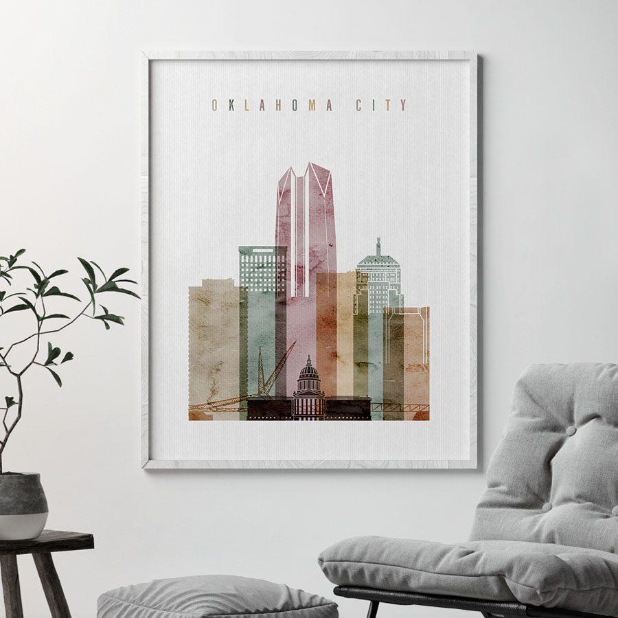 Oklahoma City skyline poster watercolor 1 second
