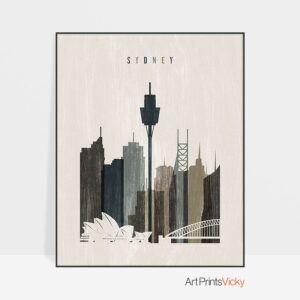 Sydney skyline print distressed 2