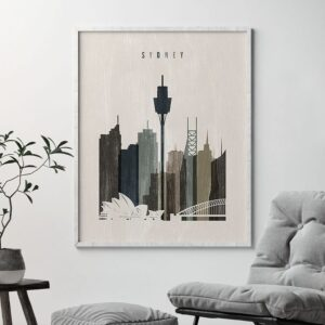 Sydney skyline print distressed 2 second