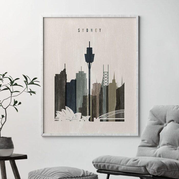 Sydney skyline print distressed 2 second