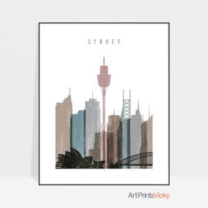 Sydney skyline poster distressed 1