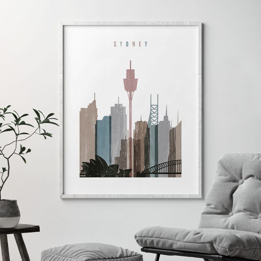 Sydney skyline poster distressed 1 second