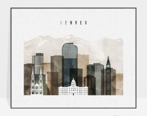 Denver skyline art print landscape watercolor 2