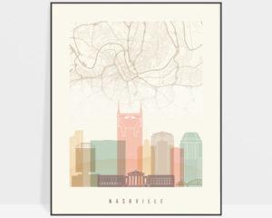 Nashville map skyline print pastel cream