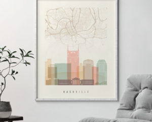Nashville map skyline print pastel cream second