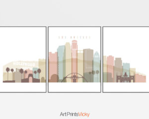 Los Angeles skyline set of 3 prints pastel white