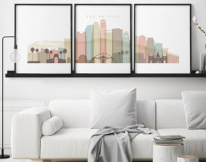 Los Angeles skyline set of 3 prints pastel white second