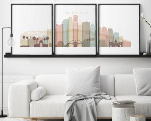 Los Angeles skyline set of 3 prints pastel white second