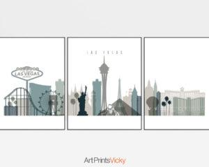 Las Vegas Set of 3 Prints Earth Tones 4