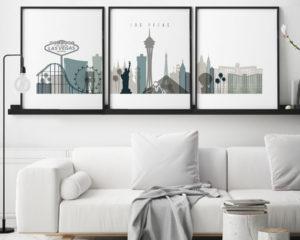Las Vegas skyline set of 3 prints earth tones 4 second