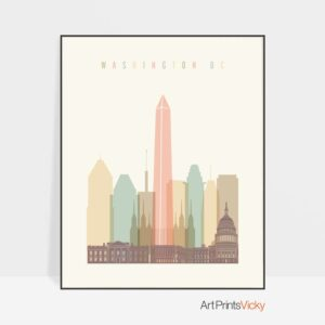 Washington DC art print skyline pastel cream