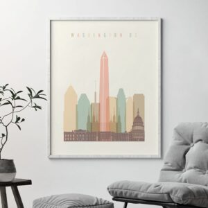 Washington DC art print skyline pastel cream second