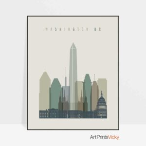 Washington DC print skyline earth tones 1