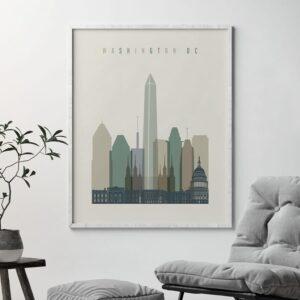 Washington DC print skyline earth tones 1 second