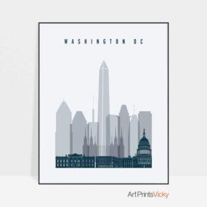 Washington DC skyline poster grey blue