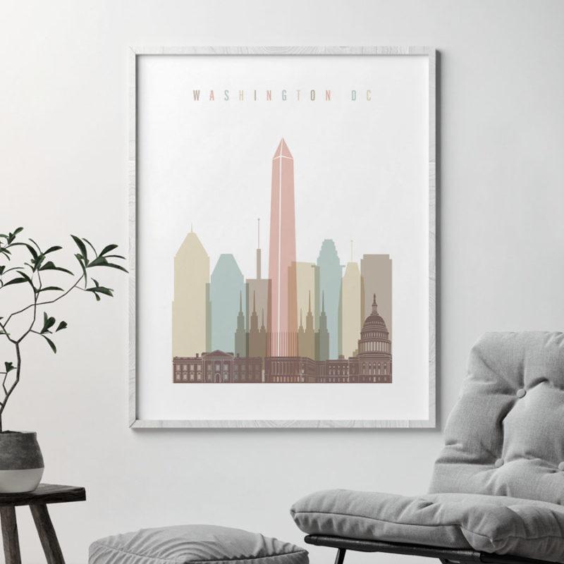 Washington DC print skyline pastel white second