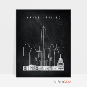 Washington DC chalkboard black white skyline print