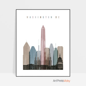 Washington DC skyline poster distressed 1