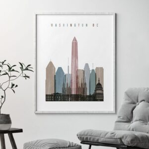 Washington DC skyline poster distressed 1 second