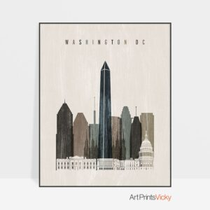 Washington DC skyline print distressed 2