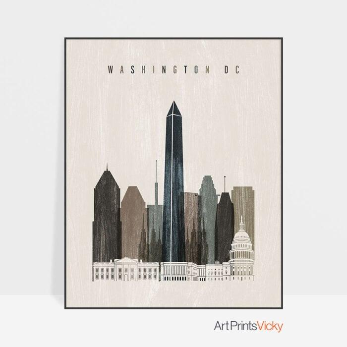 Washington DC skyline print distressed 2