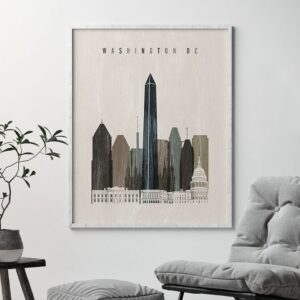 Washington DC skyline print distressed 2 second
