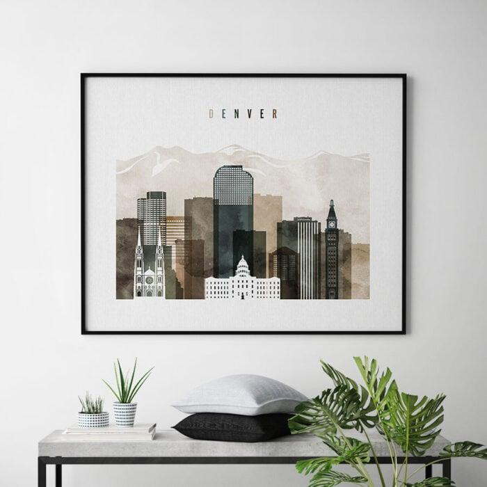 Denver skyline art print landscape watercolor 2 second