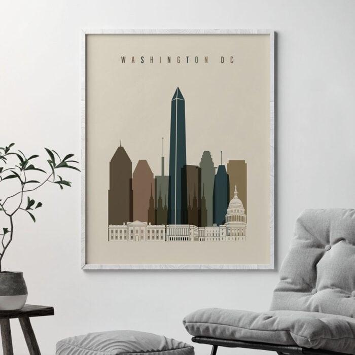 Washington DC art print earth tones 3 second
