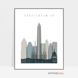 Washington DC art print skyline earth tones 4