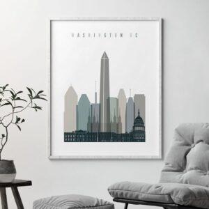 Washington DC art print skyline earth tones 4 second