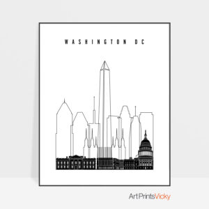 Washington DC poster black and white