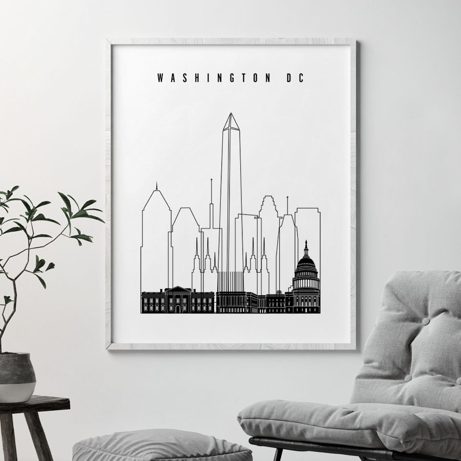 Washington DC poster black and white second
