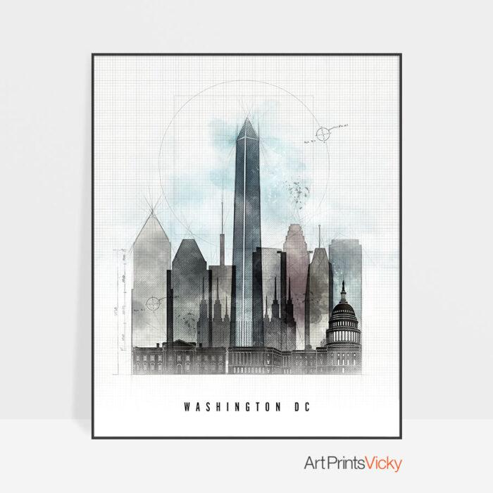 Washington DC skyline art print urban