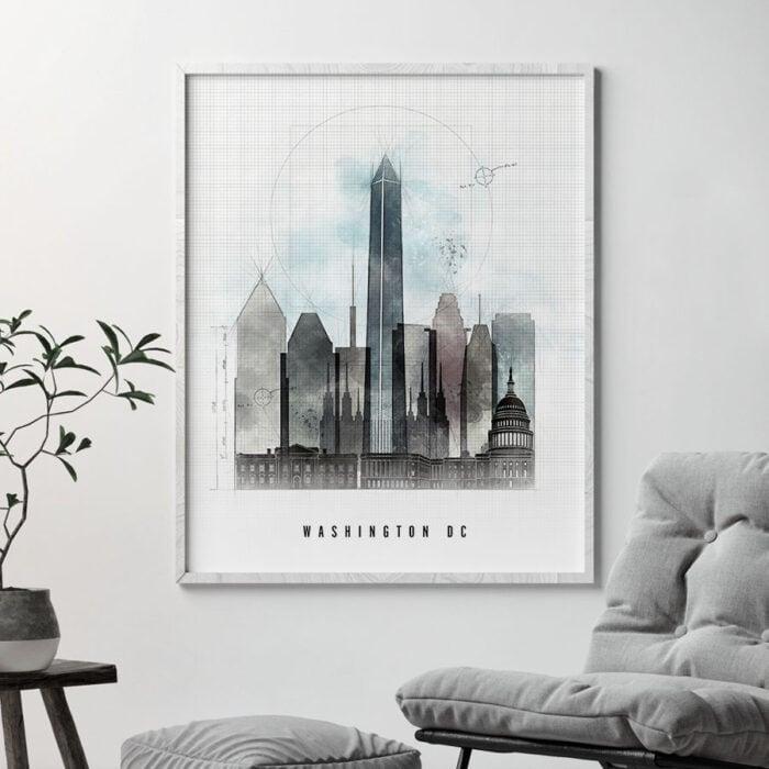 Washington DC skyline art print urban second