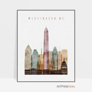 Washington DC skyline art watercolor 1