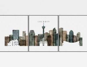 Calgary skyline art set of 3 prints watercolor 2