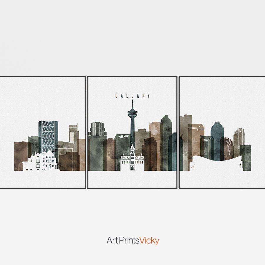 Calgary skyline art set of 3 prints watercolor 2